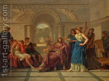 Helen Recognising Telemachus, Son of Odysseus by Jean Jacques II Lagrenee - Reproduction Oil Painting