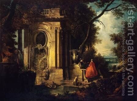 Scene in a Park by Jacques de Lajoue - Reproduction Oil Painting