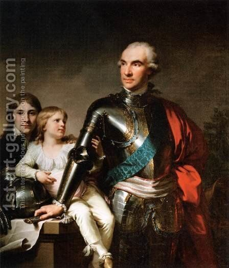 Count Stanislas Felix Potocki and his Two Sons by Johann Baptist the Elder Lampi - Reproduction Oil Painting