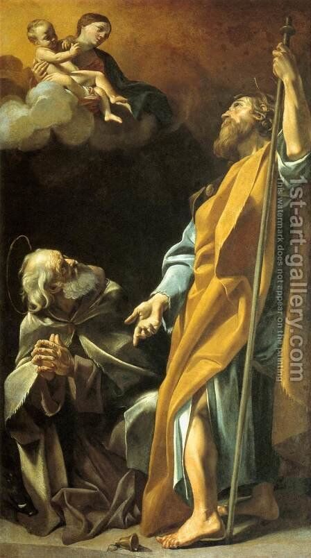 Madonna and Child with Sts Anthony Abbot and James the Greater by Giovanni Lanfranco - Reproduction Oil Painting