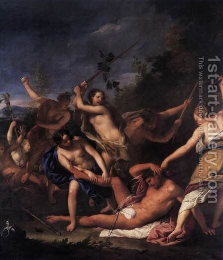 Orpheus and the Bacchantes (detail) by Gregorio Lazzarini - Reproduction Oil Painting