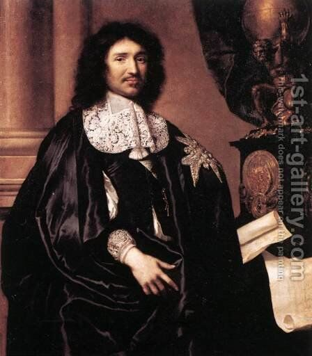Portrait of Jean-Baptiste Colbert by Claude Lefebvre - Reproduction Oil Painting
