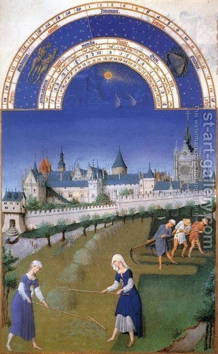 Les tres riches heures du Duc de Berry Juin (June) by Harry J. Pearson - Reproduction Oil Painting