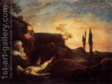 Adam and Eve Mourning for Abel by Johann Liss - Reproduction Oil Painting
