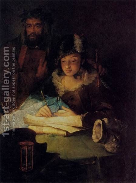Painting and Merit by Alessandro Longhi - Reproduction Oil Painting