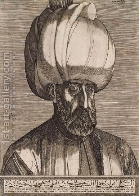 Portrait of Sultan Suleyman the Magnificent by Melchior Lorck - Reproduction Oil Painting