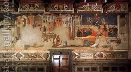 Bad Government and the Effects of Bad Government on the City Life by Ambrogio Lorenzetti - Reproduction Oil Painting