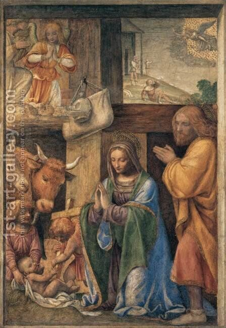 Nativity and Annunciation to the Shepherds by Bernardino Luini - Reproduction Oil Painting