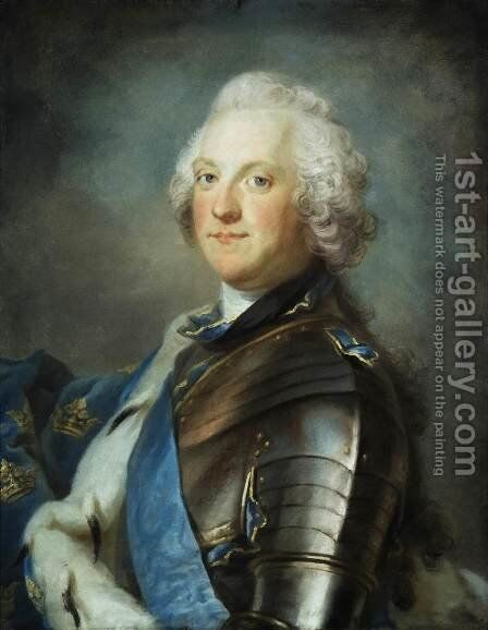 Portrait of Adolf Frederick, King of Sweden by Gustav Lundberg - Reproduction Oil Painting