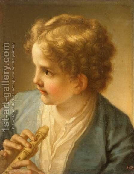 Boy with a Flute by Benedetto Luti - Reproduction Oil Painting