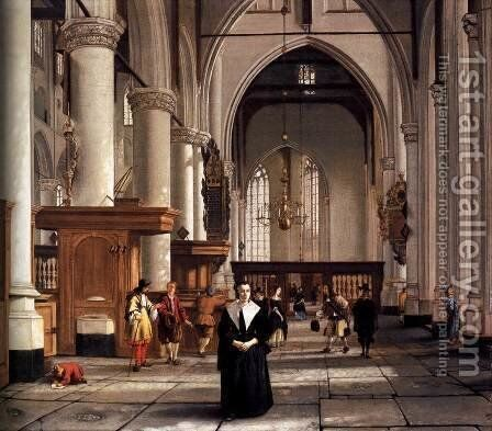Interior of the Laurenskerk, Rotterdam by Cornelis De Man - Reproduction Oil Painting