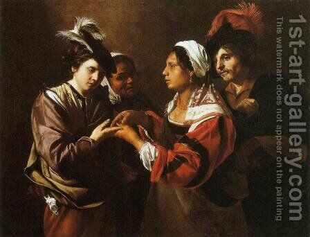 Gypsy Fortune Teller by Bartolomeo Manfredi - Reproduction Oil Painting