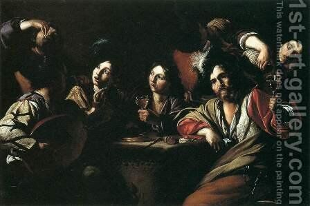 Tavern Scene with a Lute Player by Bartolomeo Manfredi - Reproduction Oil Painting