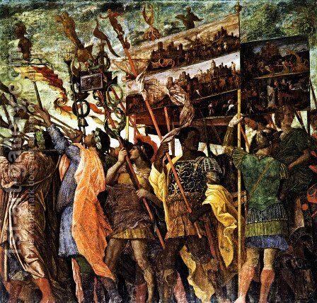 The Triumphs of Caesar Trumpeters and Standard-Bearer by Andrea Mantegna - Reproduction Oil Painting