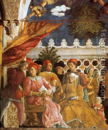 The Court of Gonzaga (detail) by Andrea Mantegna - Reproduction Oil Painting