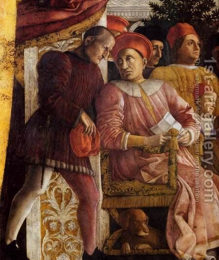 The Court of Gonzaga (detail) 3 by Andrea Mantegna - Reproduction Oil Painting