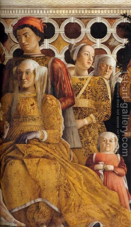 The Court of Gonzaga (detail) 4 by Andrea Mantegna - Reproduction Oil Painting