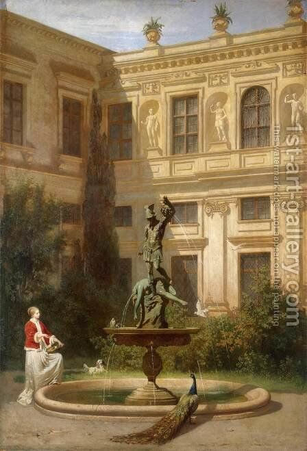 Courtyard with the Grotto in the Munich Royal Residence by Hans von Marees - Reproduction Oil Painting