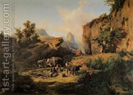 Landscape with Charcoal Burners by Andras Marko - Reproduction Oil Painting