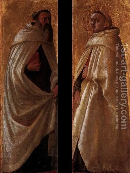 Two panels from the Pisa Altarpiece 2 by Masaccio (Tommaso di Giovanni) - Reproduction Oil Painting