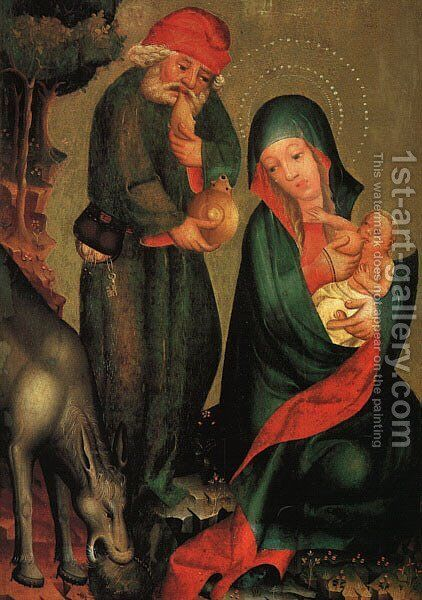 Rest on the Flight to Egypt, panel from Grabow Altarpiece by (Master of Minden) Bertram - Reproduction Oil Painting