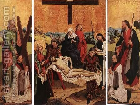 Triptych of Canon Gerhard ter Streegen de Monte 2 by Master of the Life of the Virgin - Reproduction Oil Painting