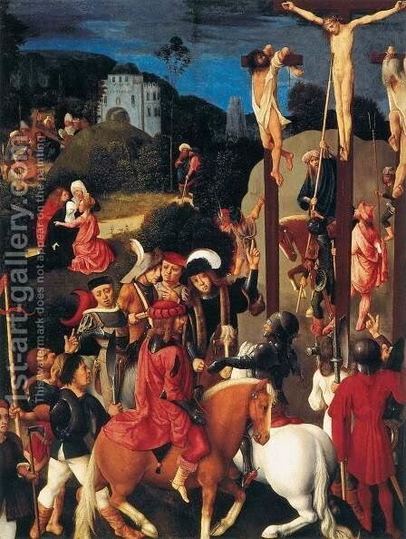 Crucifixion by Master of the Virgo inter Virgines - Reproduction Oil Painting