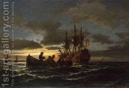 Sea at Night by Anton Melbye - Reproduction Oil Painting