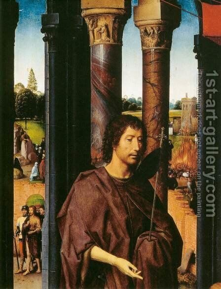 St John Altarpiece (detail) 2 by Hans Memling - Reproduction Oil Painting