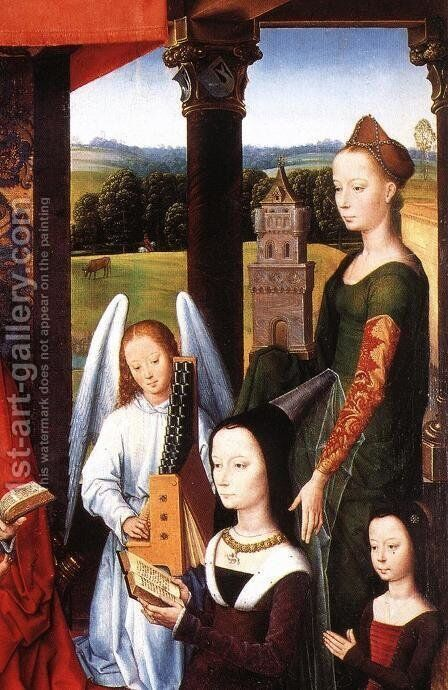The Donne Triptych (detail) by Hans Memling - Reproduction Oil Painting