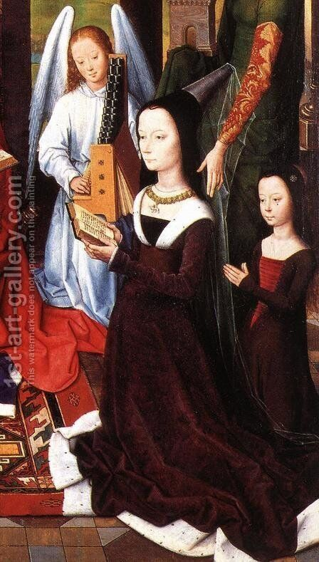 The Donne Triptych (detail) 2 by Hans Memling - Reproduction Oil Painting