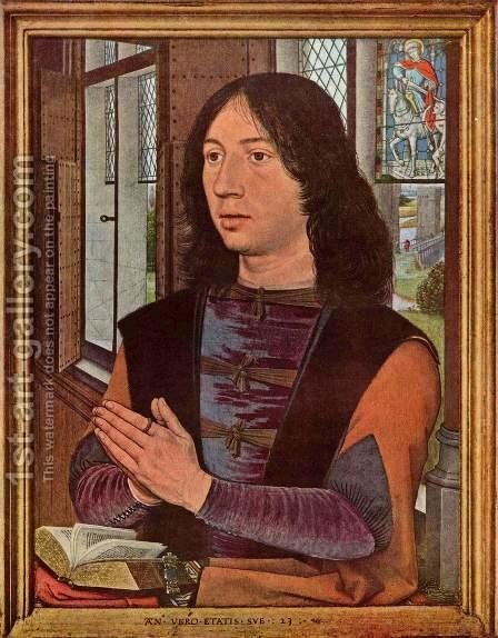 Diptych of Maarten Nieuwenhove (right panel) by Hans Memling - Reproduction Oil Painting