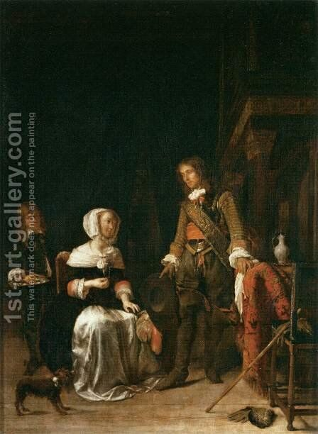 Soldier Paying a Visit to a Young Lady by Gabriel Metsu - Reproduction Oil Painting