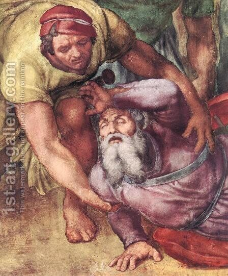 The Conversion of Saul (detail) by Michelangelo - Reproduction Oil Painting