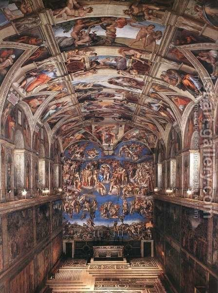 Interior of the Sistine Chapel by Michelangelo - Reproduction Oil Painting