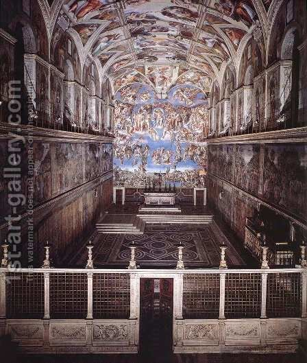 Interior of the Sistine Chapel 2 by Michelangelo - Reproduction Oil Painting