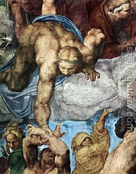 Last Judgment (detail) 3 by Michelangelo - Reproduction Oil Painting