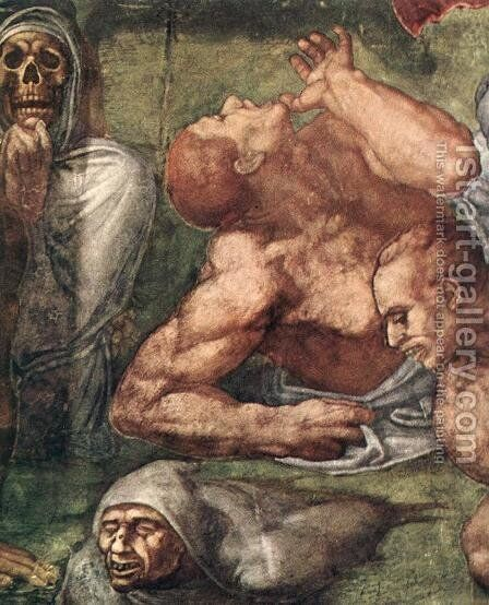 Last Judgment (detail) 5 by Michelangelo - Reproduction Oil Painting
