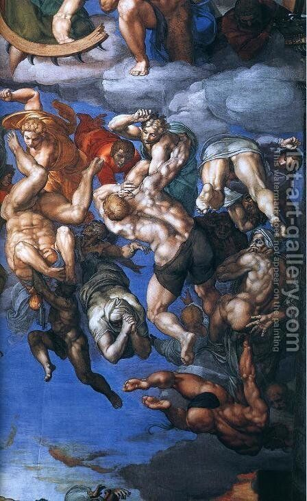 Last Judgment (detail) 10 by Michelangelo - Reproduction Oil Painting