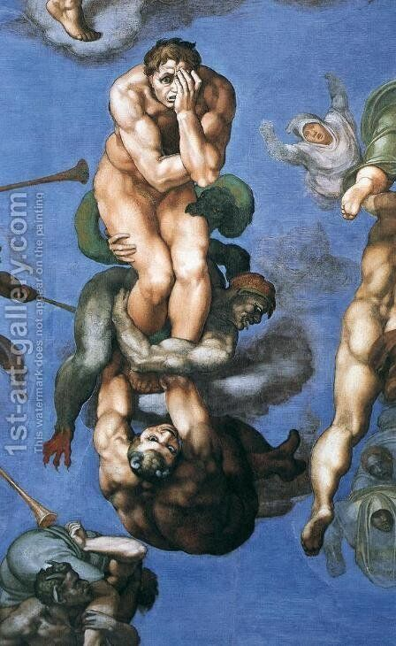 Last Judgment (detail) 11 by Michelangelo - Reproduction Oil Painting