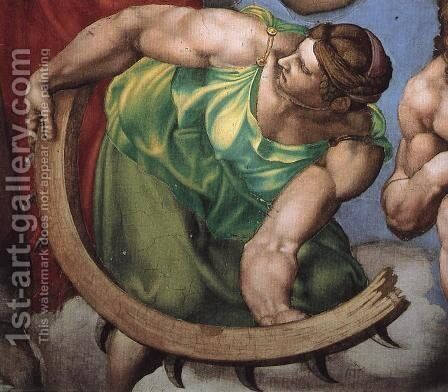 Last Judgment (detail) 15 by Michelangelo - Reproduction Oil Painting