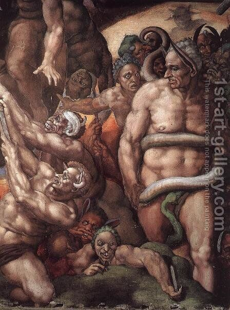 Last Judgment (detail) 16 by Michelangelo - Reproduction Oil Painting
