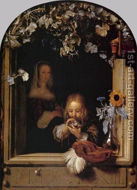 Boy Blowing Bubbles by Frans van Mieris - Reproduction Oil Painting