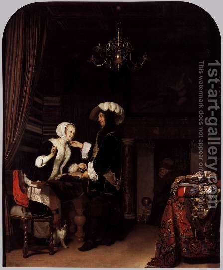 The Cloth Shop by Frans van Mieris - Reproduction Oil Painting