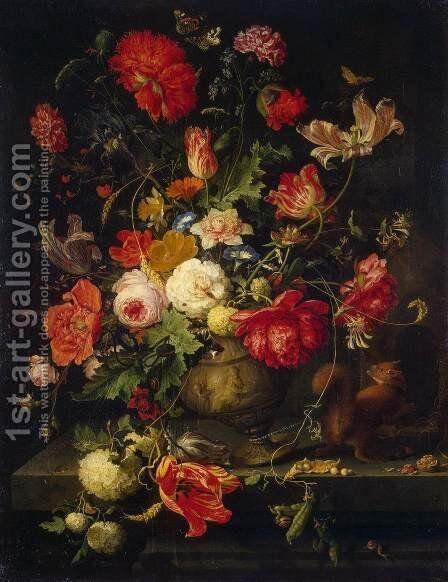 Vase of Flowers by Abraham Mignon - Reproduction Oil Painting