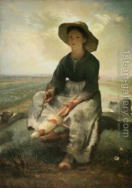 Young Shepherdess by Jean-Francois Millet - Reproduction Oil Painting