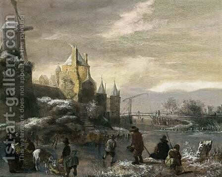 Winter Landscape with Skaters 2 by Claes Molenaar (see Molenaer) - Reproduction Oil Painting