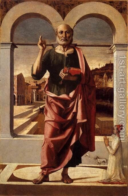 St Peter Blessing and Donor by Bartolomeo Montagna - Reproduction Oil Painting
