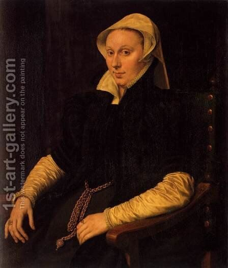 Anne Fernel, the Wife of Sir Thomas Gresham by Anthonis Mor Van Dashorst - Reproduction Oil Painting