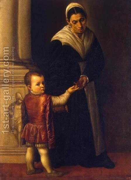 Portrait of a Boy with his Nurse by Moretto Da Brescia - Reproduction Oil Painting